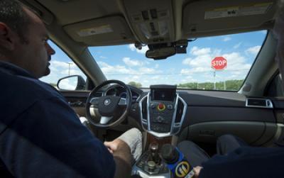 Man Inside a Driverless Car