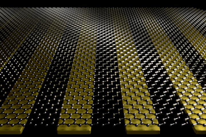 Graphene with Nano-Sized Metal Ribbons of Gold