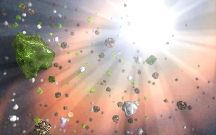 Dust Grains in Quasar Wind (Illustration)