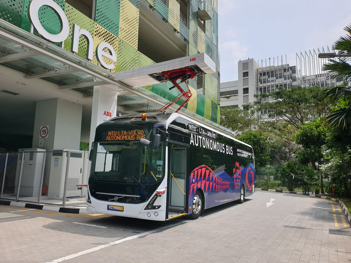 NTU-Volvo autonomous electric bus testing an automated fast charging system on the NTU Smart Campus