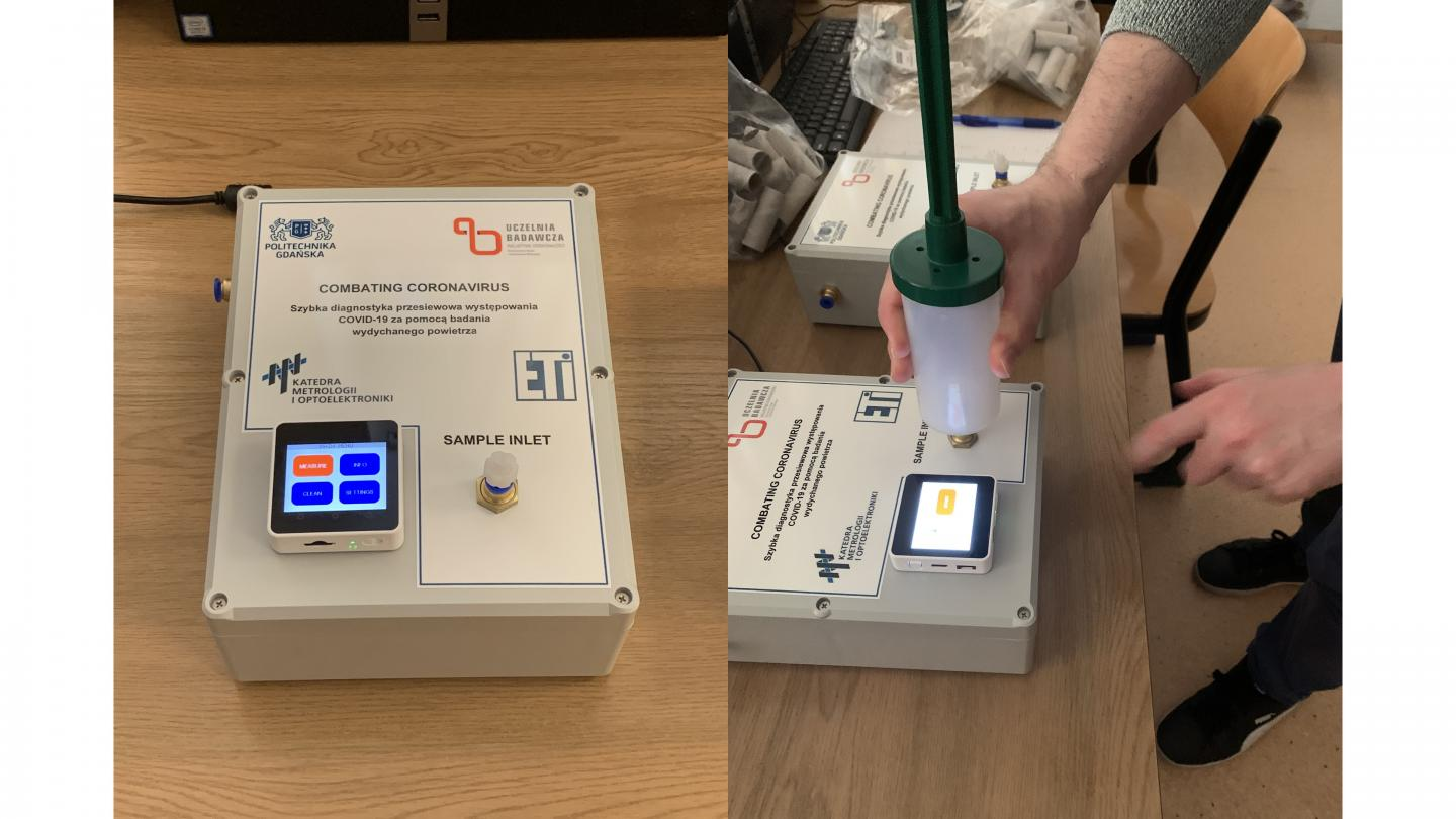 Measurement device designed to analyze air samples