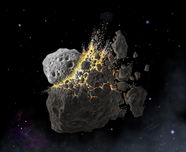 Asteroid Collision Illustration