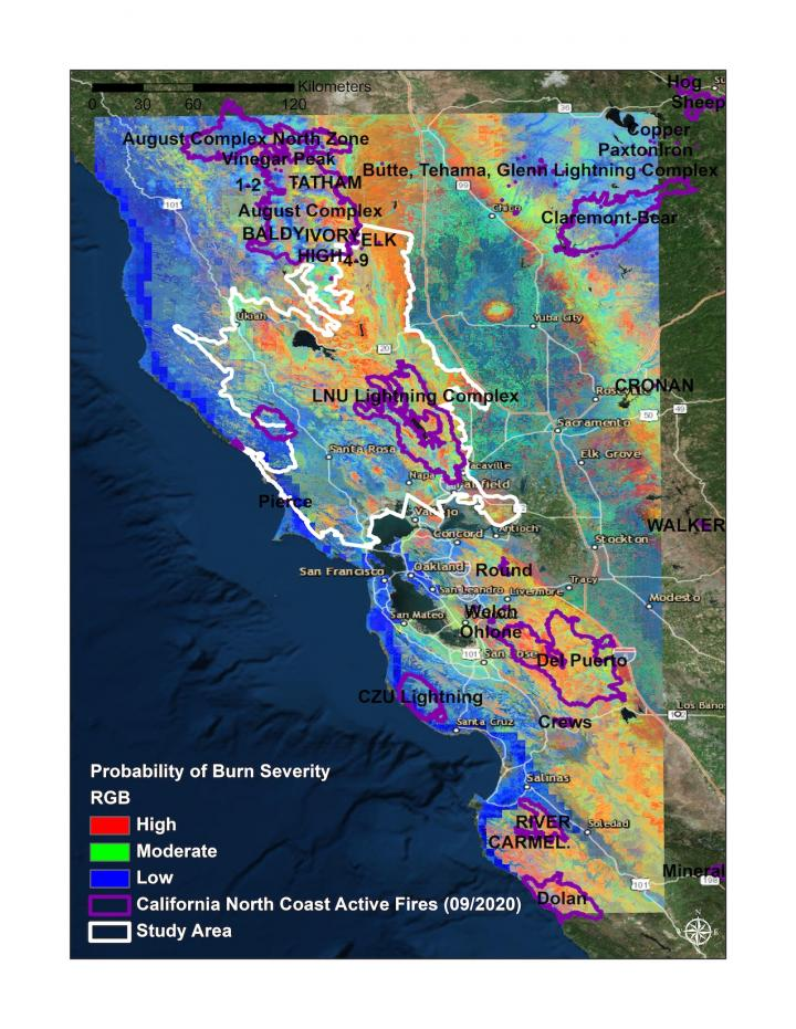 Wildfire Burn Severity Probability Map, Northern CA