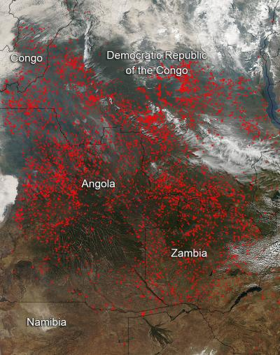 Fires in Central Africa July 2014