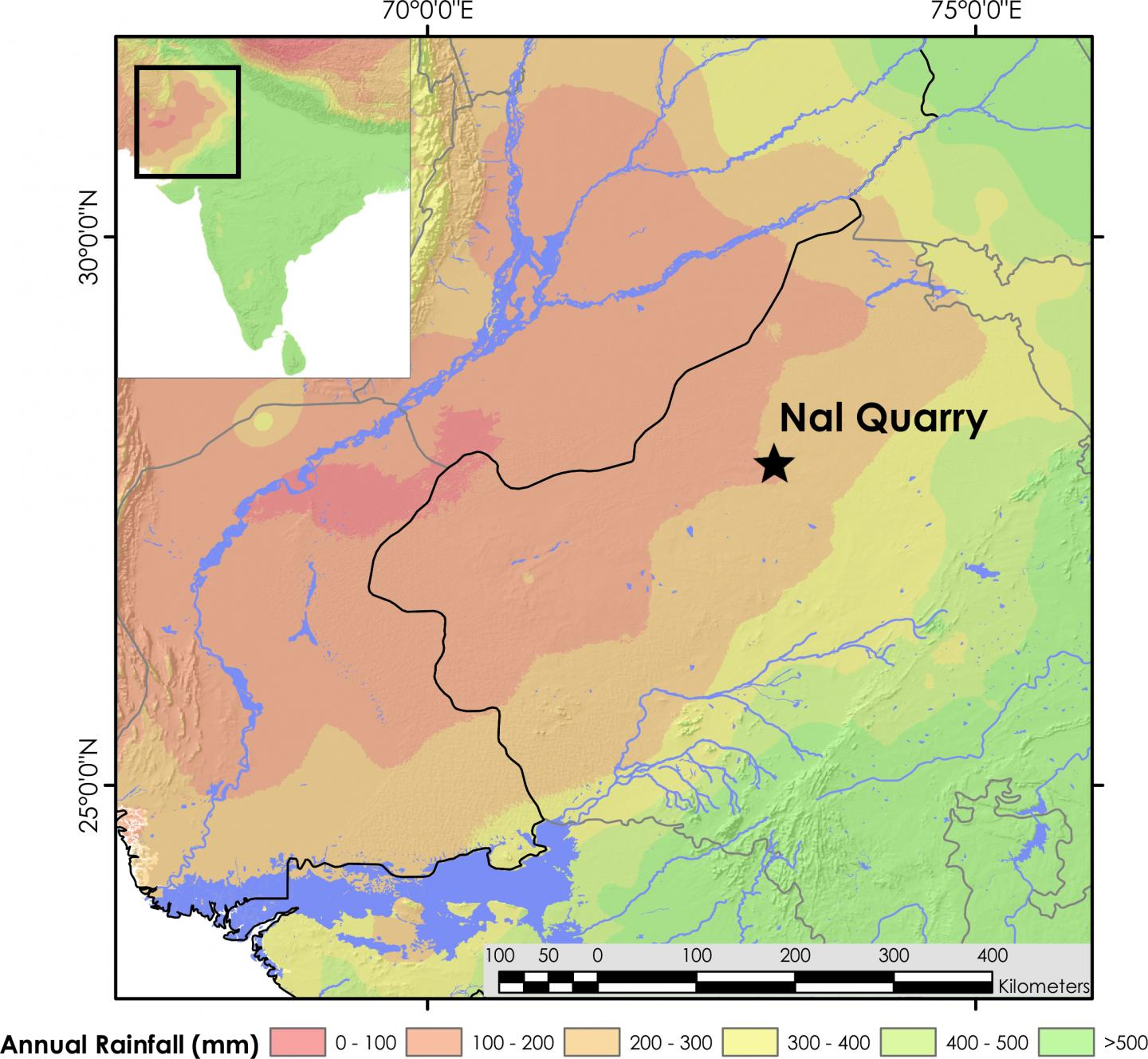 Map showing the location of Nal Quarry