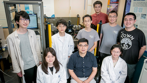 Prof. Kevin J. Chen (front middle), Professor of HKUST's Department of Electronic and Computer Engineering, and his team that developed this work.
