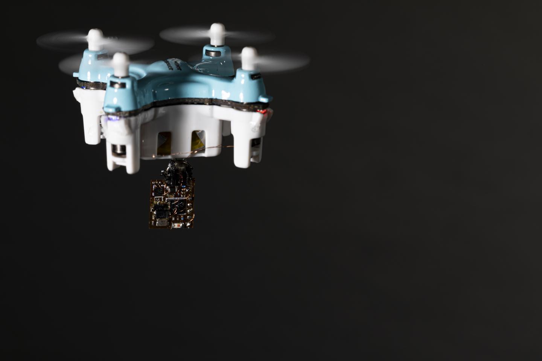 A drone carrying a sensor