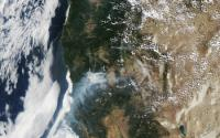 Satelite Photo from August 2014 Showing Large Wildfires Burning in Northern California