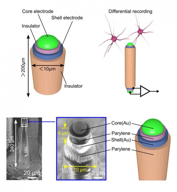 Coaxial Cable-Inspired Microneedle Electrode for Neural Recording