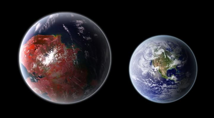 An artistic representation of Kepler 422-b, compared with Earth