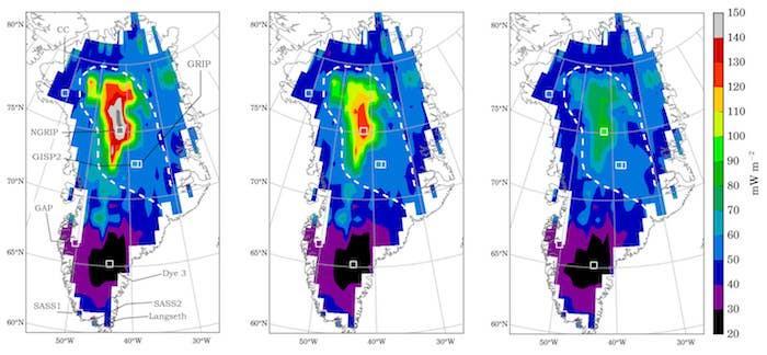 Heat Flux Below Greenland Ice Sheet