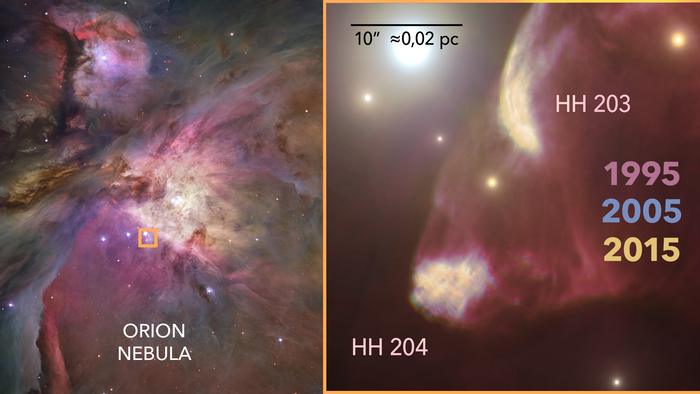 View of HH204, a Herbig-Haro object in the Orion Nebula