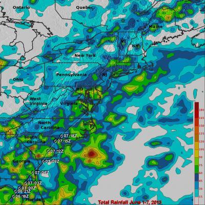 TRMM Sees East Coast Rain from Andrea