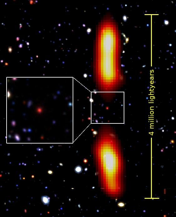 Optical And Radio Image Of The Giant Radio Galaxy  J021659-044920