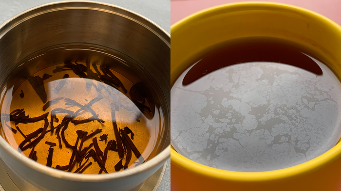 Thin film at the air-water interface is observable in a cup of tea