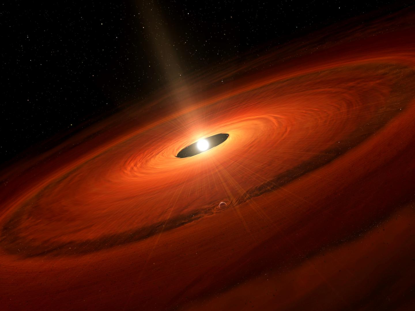 Artist's Impression of the Dust Disk and a Forming Planet Around TW Hydrae