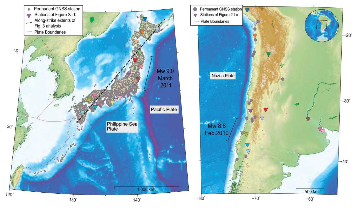 GNSS Stations in Japan and Chile