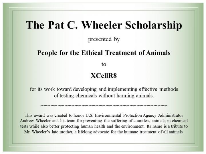 Wheeler Scholarship Will Help Scientists Develop Non-Animal Test Methods