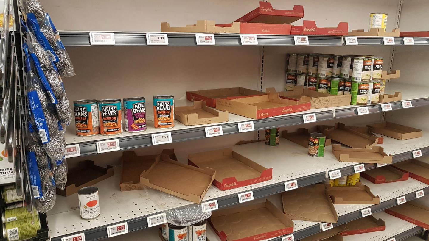 Empty Shelves at the Grocery Story Are a Common Sight