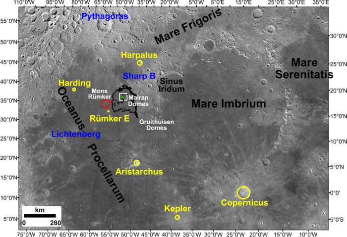 Image showing the location of the Chang'e-5 landing site and adjacent regions of the Moon