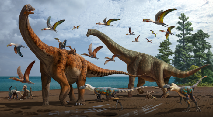 Artistic rendering of the palaeoecology of the Hami Pterosaur Fauna, with Silutitan sinensis on the left and Hamititan xinjiangensis on the right
