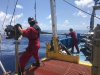 Recovering sediment cores from the Gulf of Mexico on the TDI-Brooks vessel R/V Brooks McCall