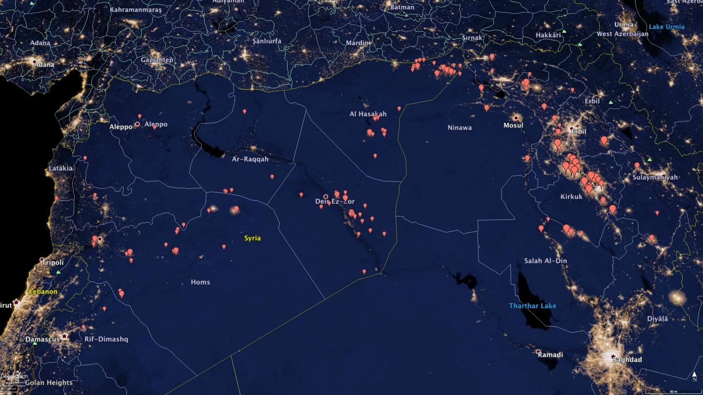 Oil Flares in Syria and Northern Iraq