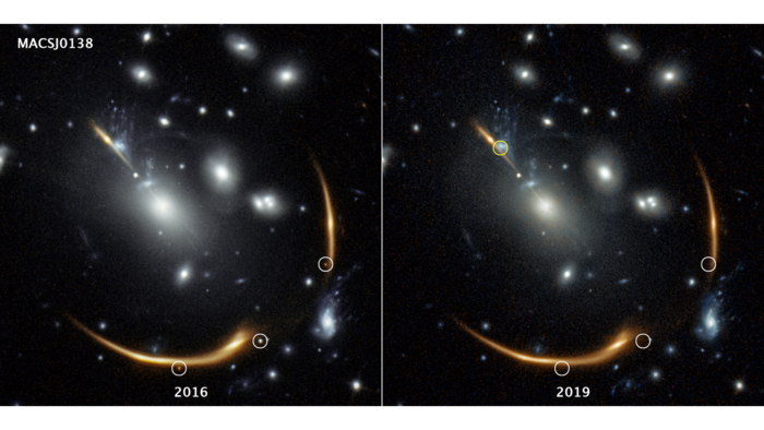 Hubble Image of Supernova in 2016 and 2019