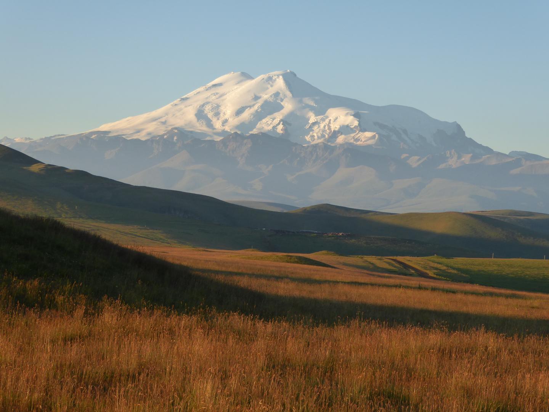 Twin Peaks Of Mount Elbrus, The Highest Mountain In The Caucasus (5600 M)