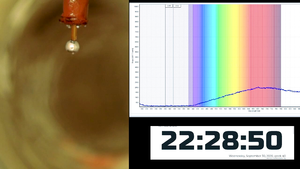 The drop of sodium-potassium alloy exposed to the action of the water vapor