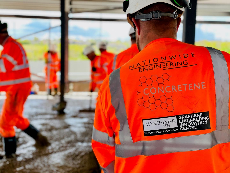 Laying engineered graphene concrete