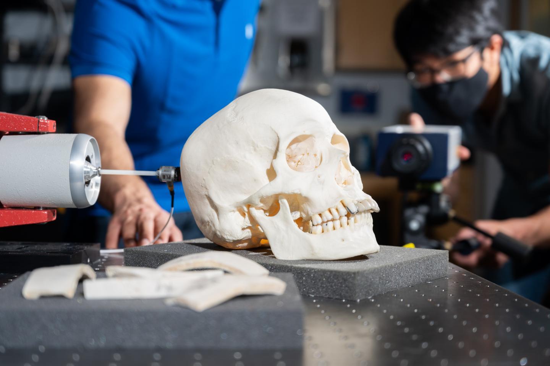Closeup of vibration experiment on skull