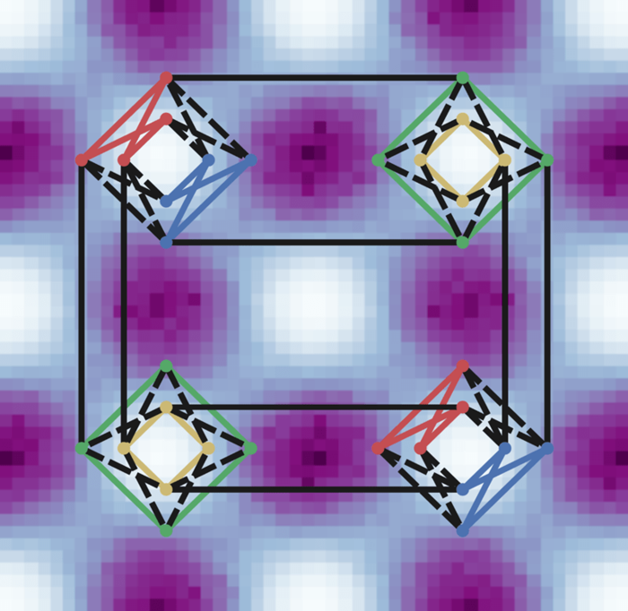 Researchers used a D-Wave quantum computer chip to create this simulation of a sample material with results comparable to those of real-world experiments.