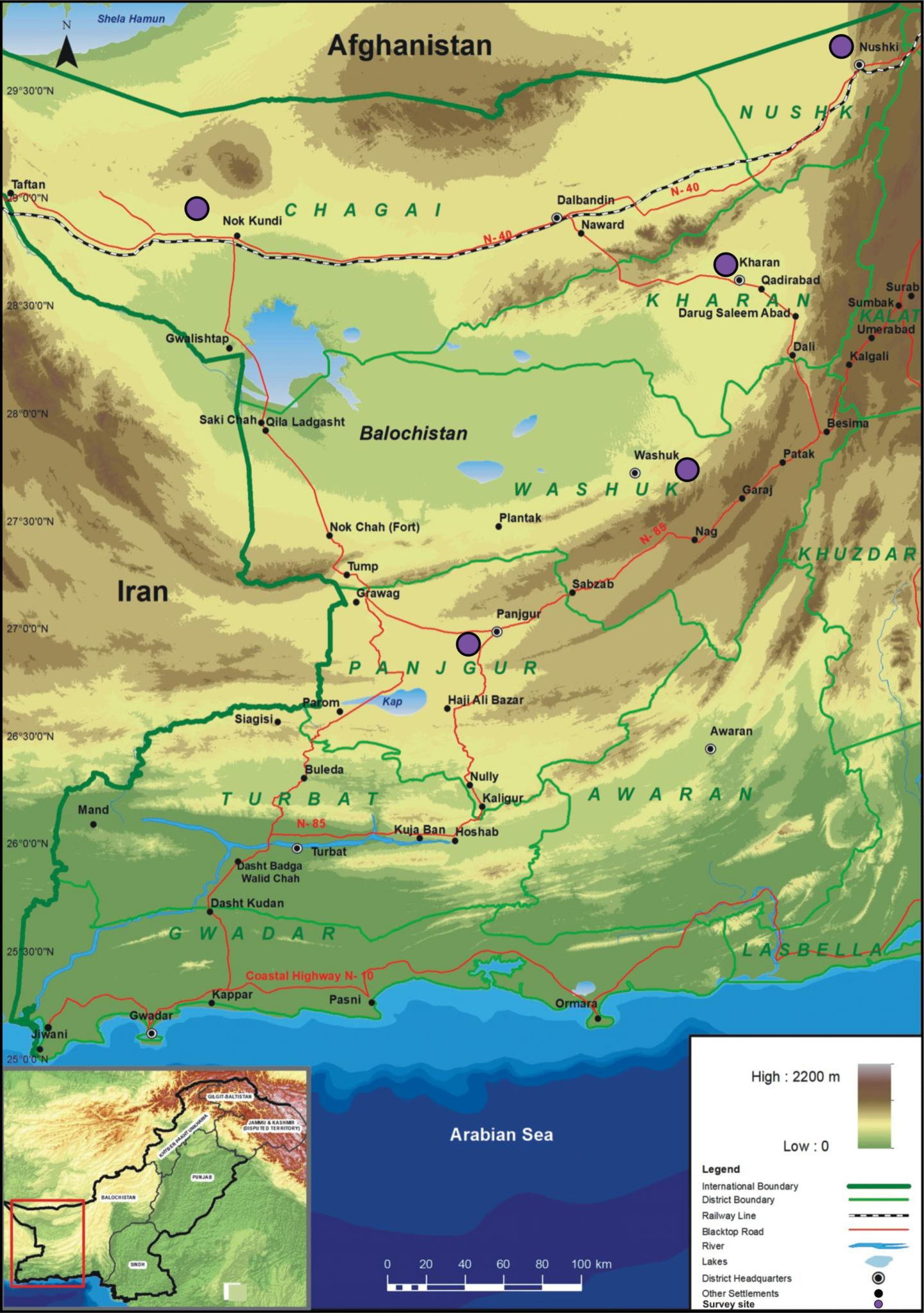 A Topographic Map of Southwestern Balochistan Showing Visit Sites in Chagai, Nushki, Panjgur, Kharan