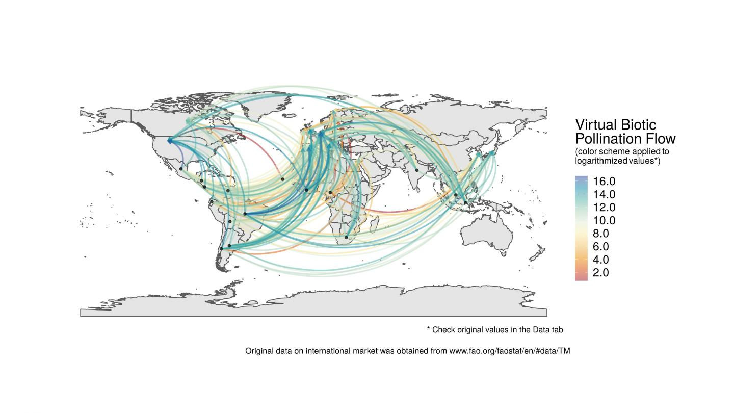 Virtual Pollination Flow from developing countries to Europe, North America, and Japan.