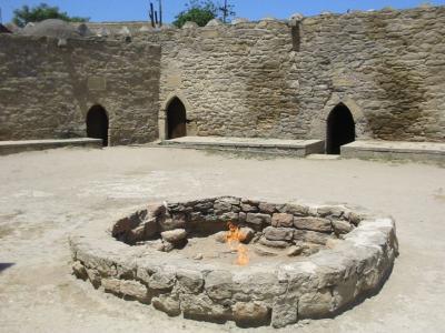 The 'Eternal Flame' at the Zoroastrian 'Fire Temple' in Azerbaijan