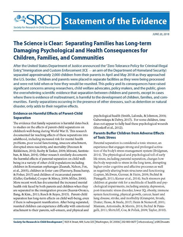 Separating Families has Long-term Damaging Psychological and Health Consequences for Children, Families, and Communities