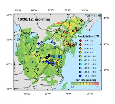 Stable Isotope Analysis of Rainwater Samples from Superstorm Sandy