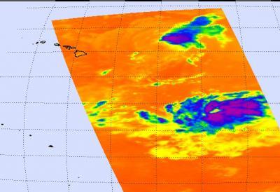 NASA's AIRS Image of Felicia's Cloud Temperatures