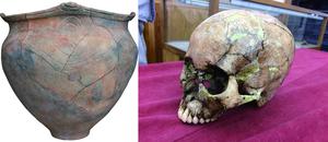Jomon pottery and skull