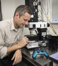 Michel Calame in his Laboratory