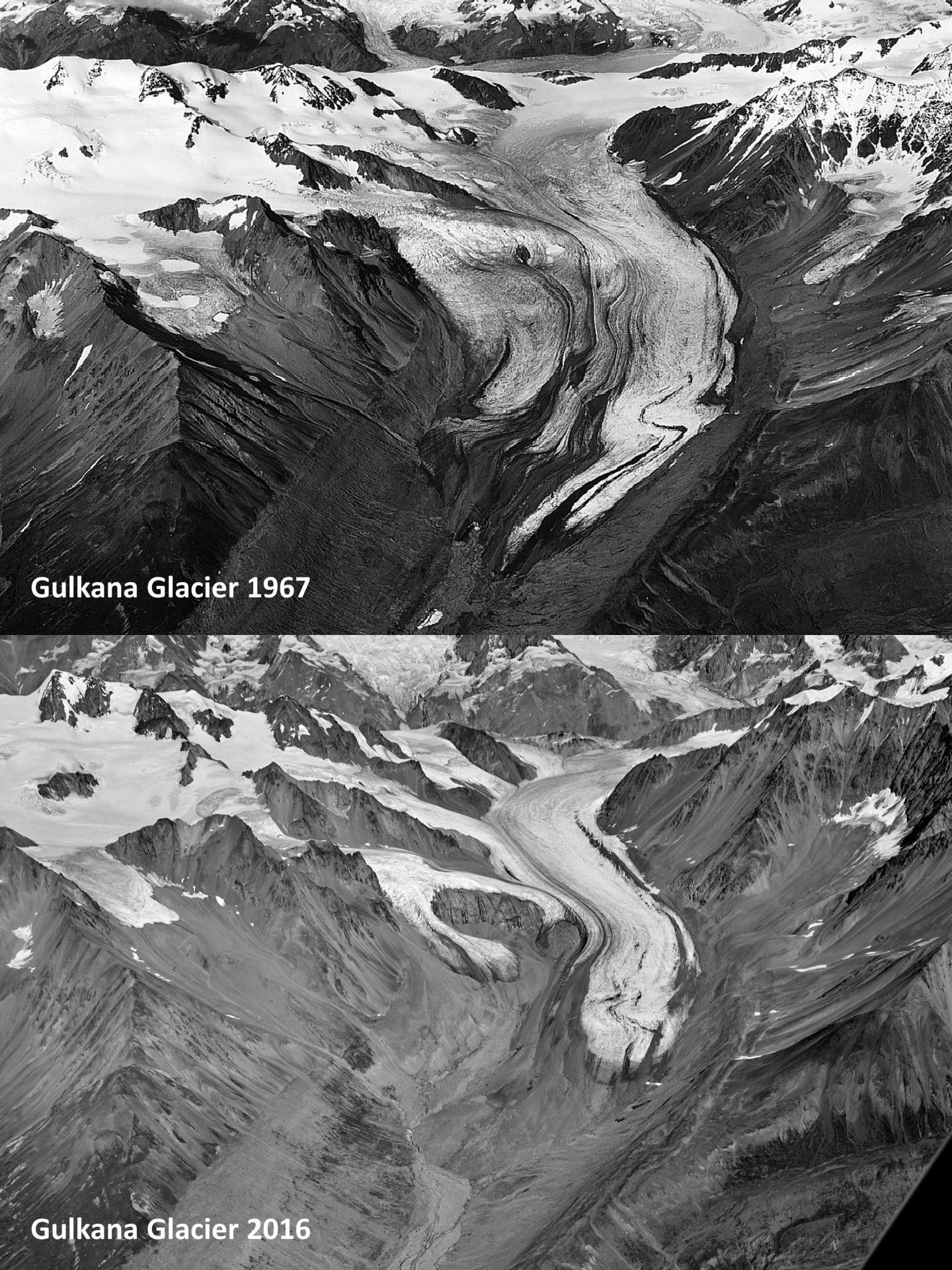 Gulkana Glacier 50 Years Ago and Today