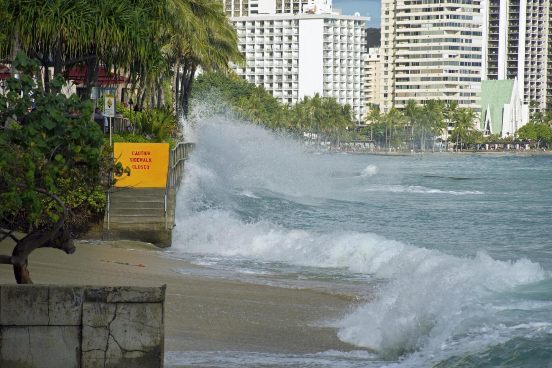 Waves crashing in Waikiki