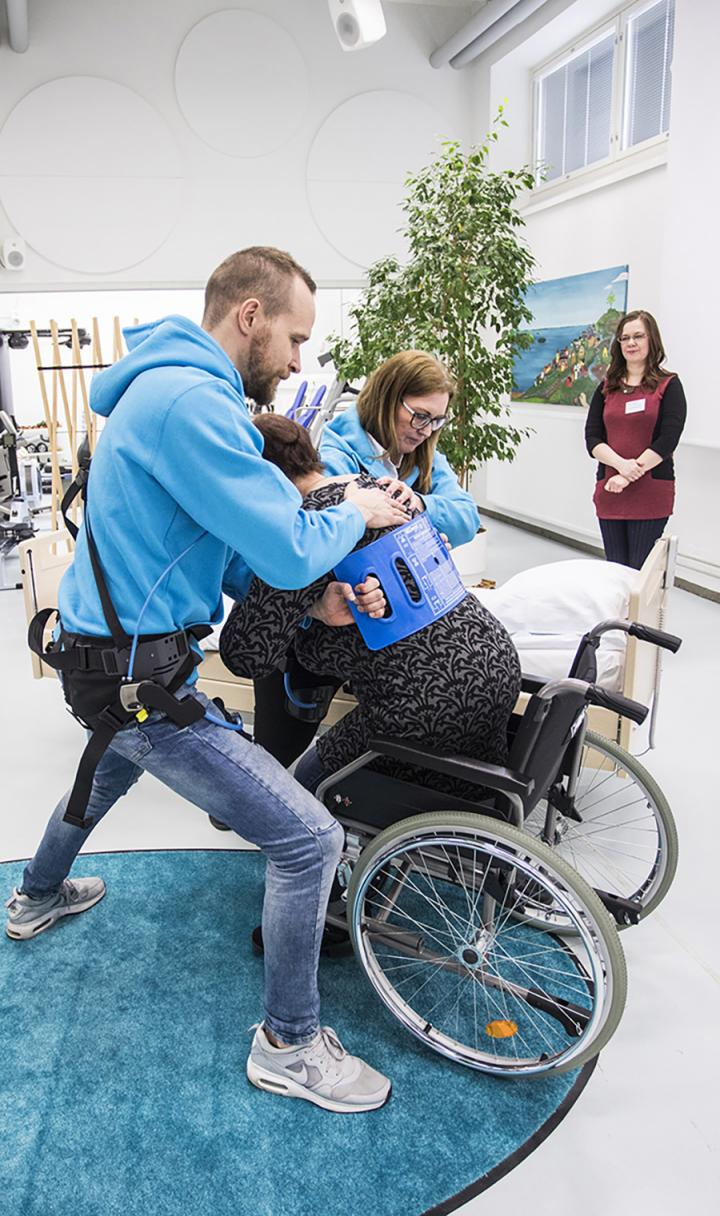 Nurses wearing exoskeletons to discover how the new technology would suit the special requirements of patient care.