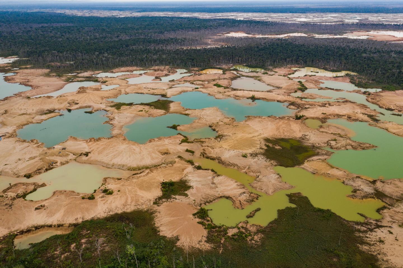 Mining ponds in the La Pampa region of Madre de Dios, Peru.