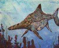 Artwork with Single Ichthyosaur