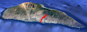 La Palma and the location of the Cumbre Vieja lava flow on 3 October 2021.