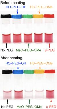 Gold nanoparticles suspended in different PEG solutions