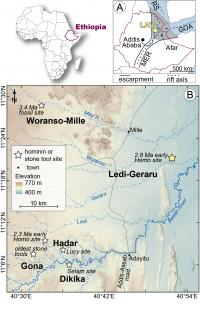 Map of Ethiopian Fossil Sites