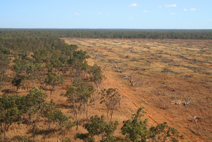 Aerial shot of deforestation in Daly River, Northern Territory in 2008.